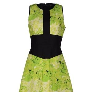 Tibi Neon Green + Black Mini Dress